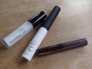 Empties: Hourglass Veil Mineral Primer, NARS Smudge Proof Eyeshadow Base, Korres Volcanic Minerals mascara